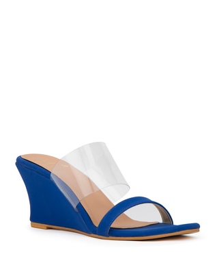 blue solid synthetic heels sandals