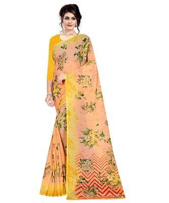 orange printed  saree with blouse