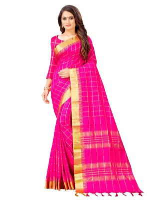 pink woven  saree with blouse