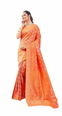 pink Jaquared banarasi Designer Saree For Women