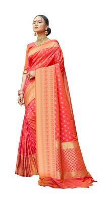 peach Jaquared banarasi Designer Saree For Women
