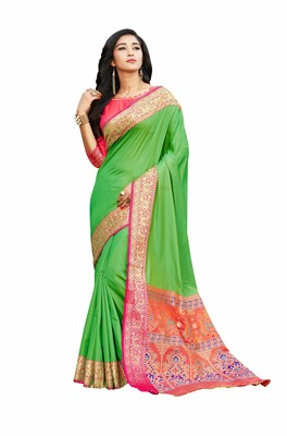 green banarasi Plain Heavy Bordered Designer Saree For Women