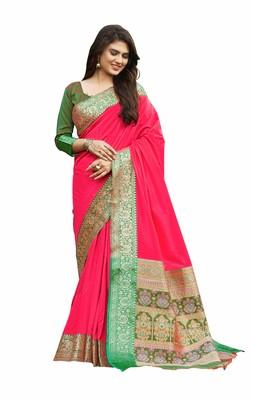 pink banarasi Plain Heavy Bordered Designer Saree For Women