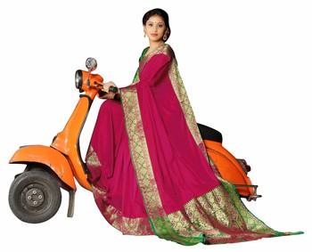 magenta banarasi Plain Heavy Bordered Designer Saree For Women