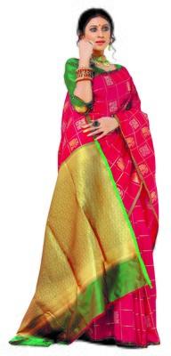pink Soft Weaving Silk Woven Chex Designer Saree For Women