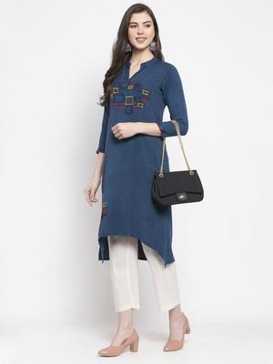 Dark-blue embroidered rayon kurtas-and-kurtis