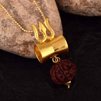 Lord Shiv Special Designer Damru Trishul Pendant With Five Mukhi Rudraksha Pendant with gold Plated