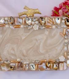Worthyy Enterprises Women's Acrylic Embellished Clutch purse with Detachable Sling (Cream)