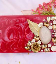 Worthyy Enterprises Women's Acrylic Embellished Clutch purse with Detachable Sling (Red)