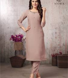 Navraj Fashion Women's Beige Pink Color Muslin Hand Work Designer Straight Kurta With Pant