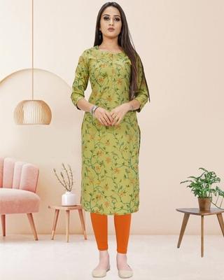 Green printed cotton ethnic-kurtis