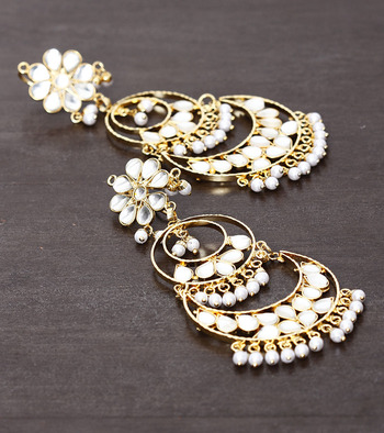 White Beads and Kundan Embellished Dangler Earrings 217ED22