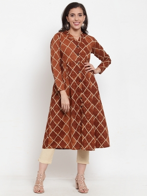 Indibelle Brown printed cotton kurtas-and-kurtis