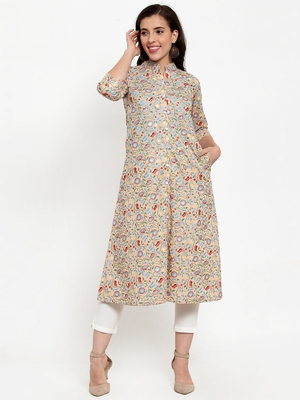 Peach printed cotton kurtas-and-kurtis