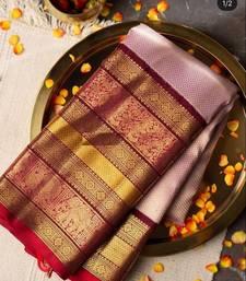 Kanchipuram Silk Saree Golden Zari Work With Blouse Wedding Saree Indian Traditional Saree