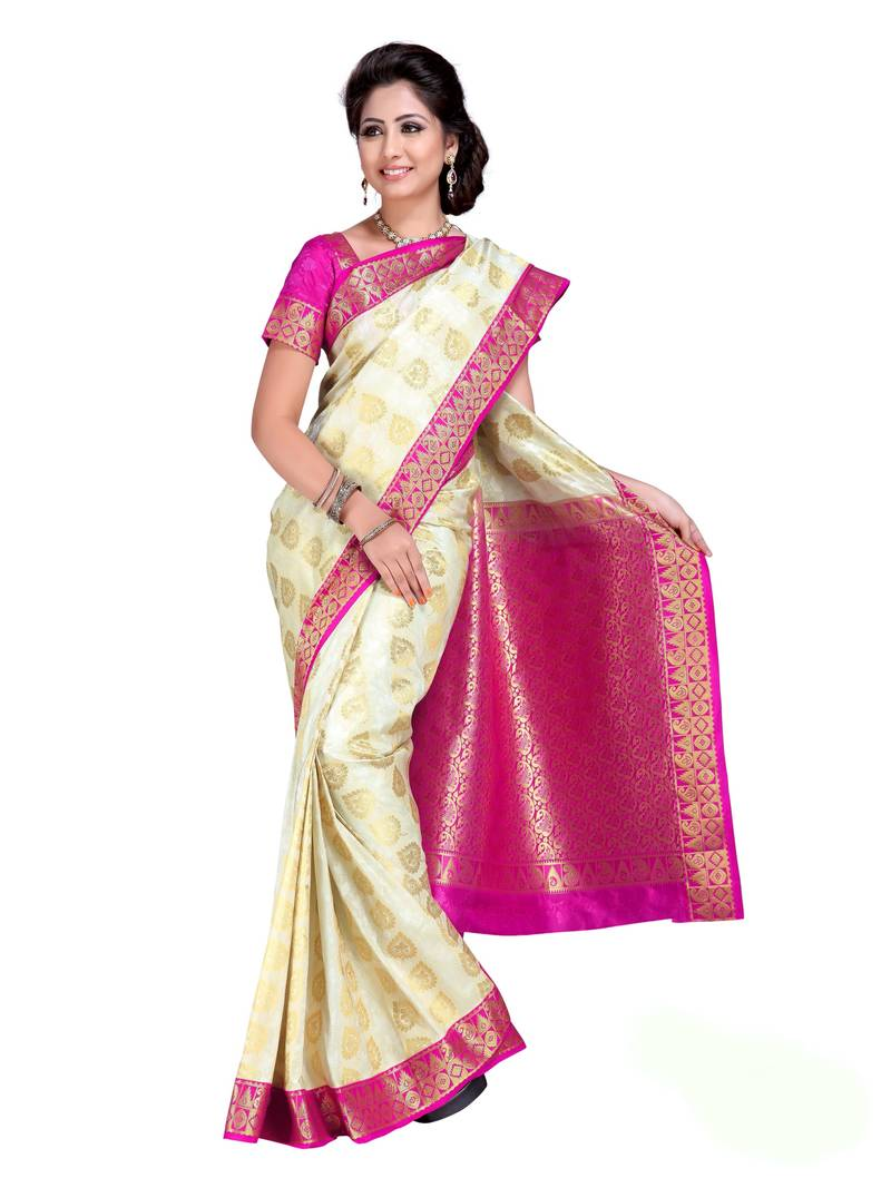 Buy Off White And Rani Pink Woven Art Silk Saree With
