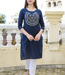Navy Embroidered Cotton Straight Kurti