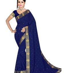 Party wear stone beads  heavy lace border work  georgette saree