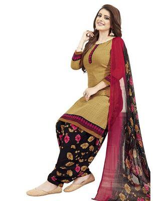 beige printed crepe unstitched salwar with dupatta