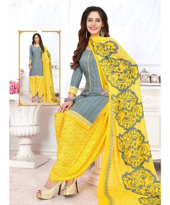 grey printed crepe unstitched salwar with dupatta