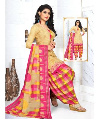 beige printed crepe unstitched salwar with dupatta