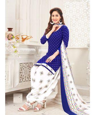 blue printed crepe unstitched salwar with dupatta