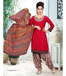 red printed crepe unstitched salwar with dupatta
