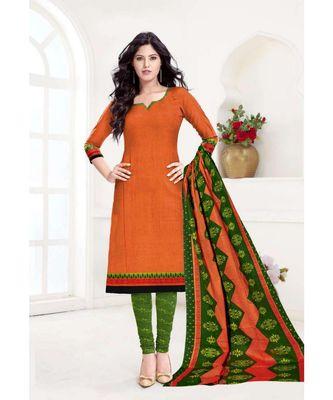 orange printed cotton unstitched salwar with dupatta