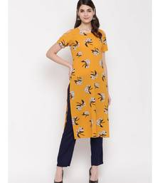 yellow printed georgette kurti