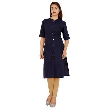 blue plain cotton kurti