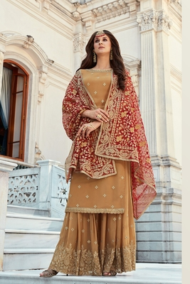 beige embroidered georgette semi stitched sharara