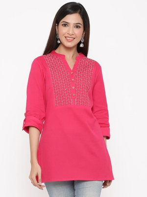 Fuschia Cotton Flex Embroidered Straight Kurta