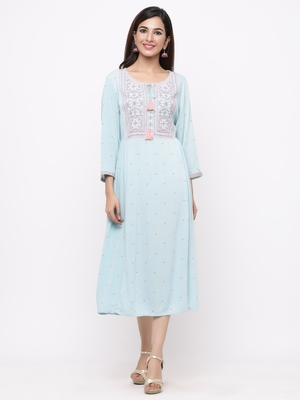Mint Rayon Crepe Embroidered A line Dress