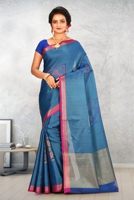 Teal Banarasi Tanchoi Art Muslin Silk Saree With Blouse