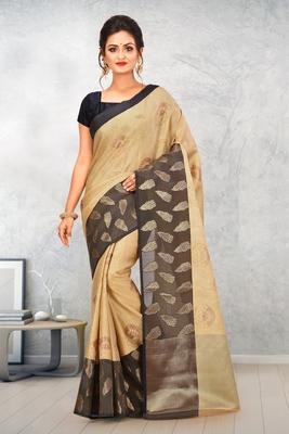 Beige Banarasi Tanchoi Art Muslin Silk Saree With Blouse