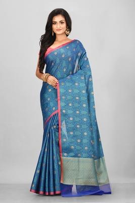 Teal Banarasi Tanchoi Art Muslin Silk Saree With Blouse