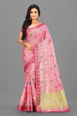 Pink Banarasi Tanchoi Art Muslin Silk Saree With Blouse