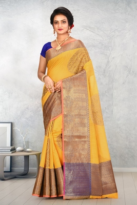 Mustrad Banarasi Cotton Silk Saree With Blouse