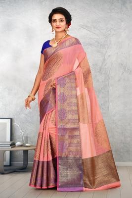 Peach Banarasi Cotton Silk Saree With Blouse