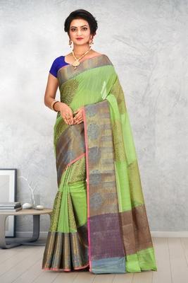 Light Green Banarasi Cotton Silk Saree With Blouse