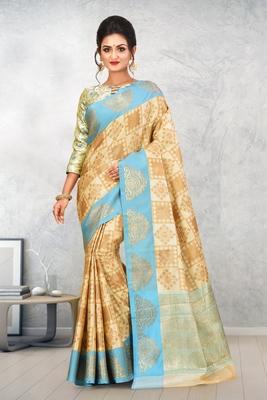 Beige Banarasi Art Silk Saree With Blouse