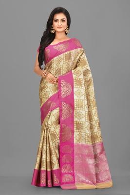 Light Beige Banarasi Art Silk Saree With Blouse