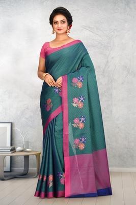 Dark Teal Banarasi Tanchoi Art Muslin Silk Saree With Blouse