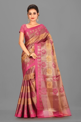 Pink Banarasi Art Silk Saree With Blouse