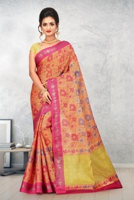 Orange Banarasi Art Silk Saree With Blouse