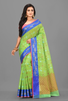 Green Banarasi Art Silk Saree With Blouse