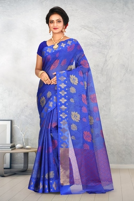 Royal Blue Banarasi Art Silk Saree With Blouse