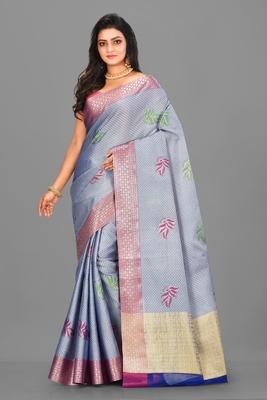 Light Blue Banarasi Tanchoi Art Muslin Silk Saree With Blouse