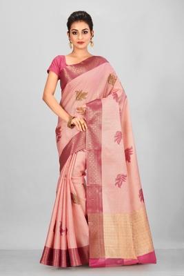 Light Peach Banarasi Tanchoi Art Muslin Silk Saree With Blouse