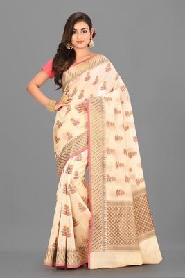 Light Beige Banarasi Cotton Silk Saree With Blouse